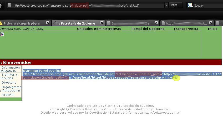 URL querystring RFI